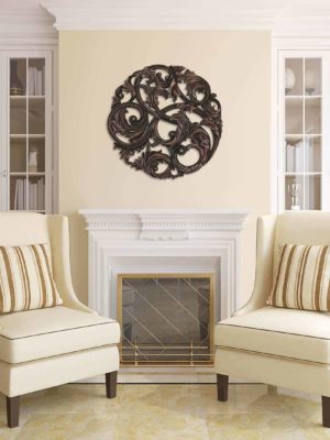 Aged Copper Leaf Swirl Wall Sculpture9871 Room 2