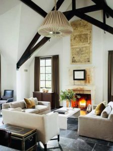 Contemporary room with vaulted ceiling