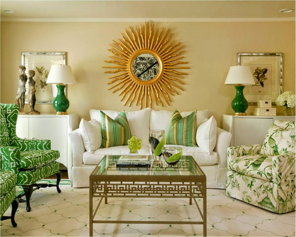 Living room with sunburst mirror