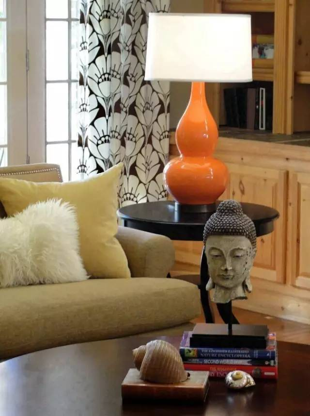 Orange Lamp in Contemporary Style Room