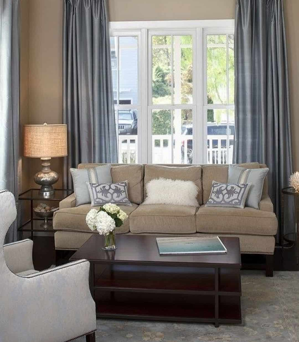 Room in Taupe, Blue, and White