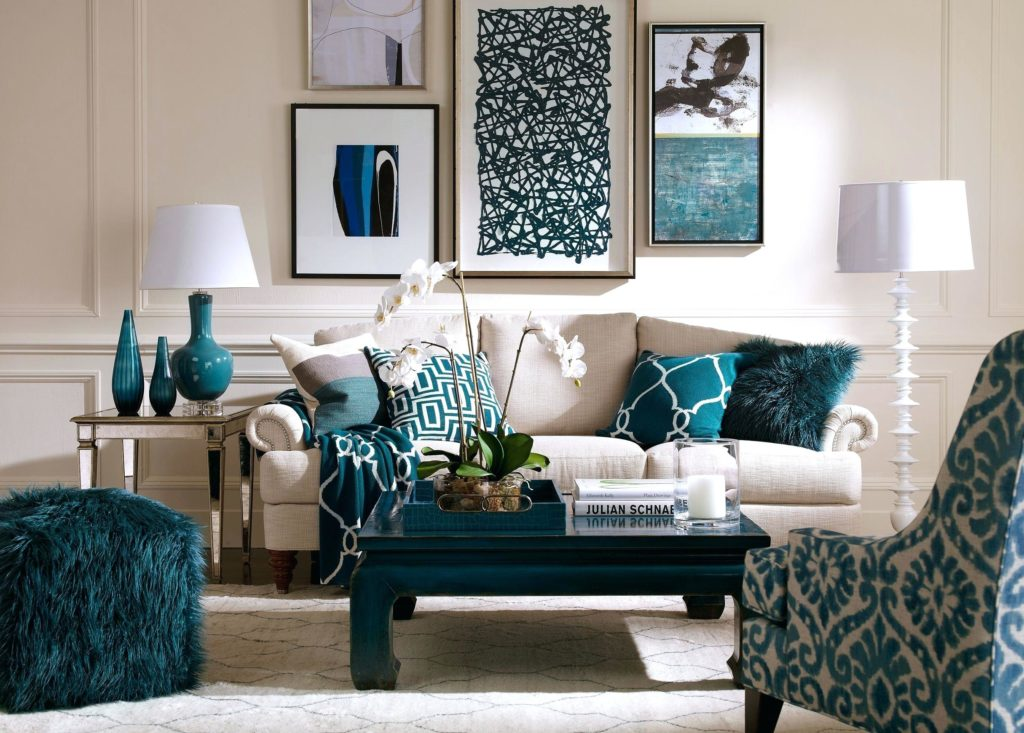 Room in Turquoise, Gray, and White