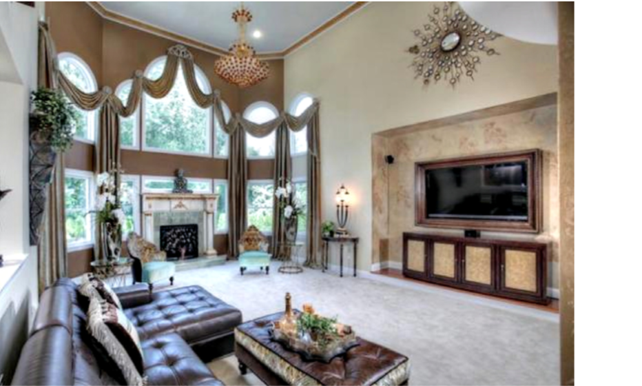 Traditional Living Room with Tall Ceiling