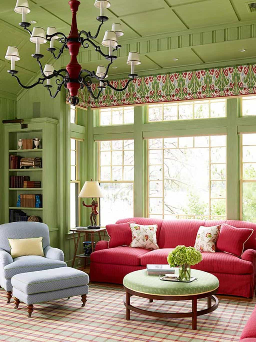 living-room-with-red-sofa-and-green
