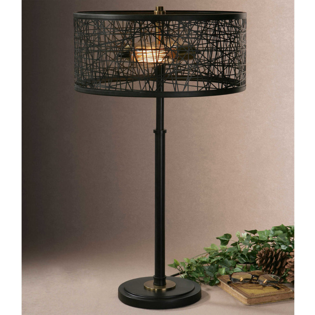 Alita Black Drum Shade Lamp by Uttermost26131 1