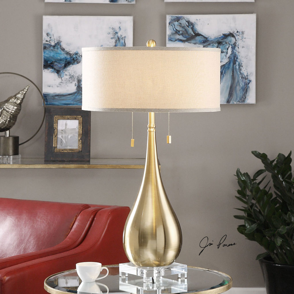 uttermost lagrima brushed brass two light table lamp 27048 1