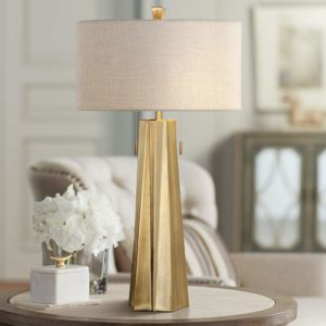 Maris Plated Antiqued Brass Metal Table Lamp