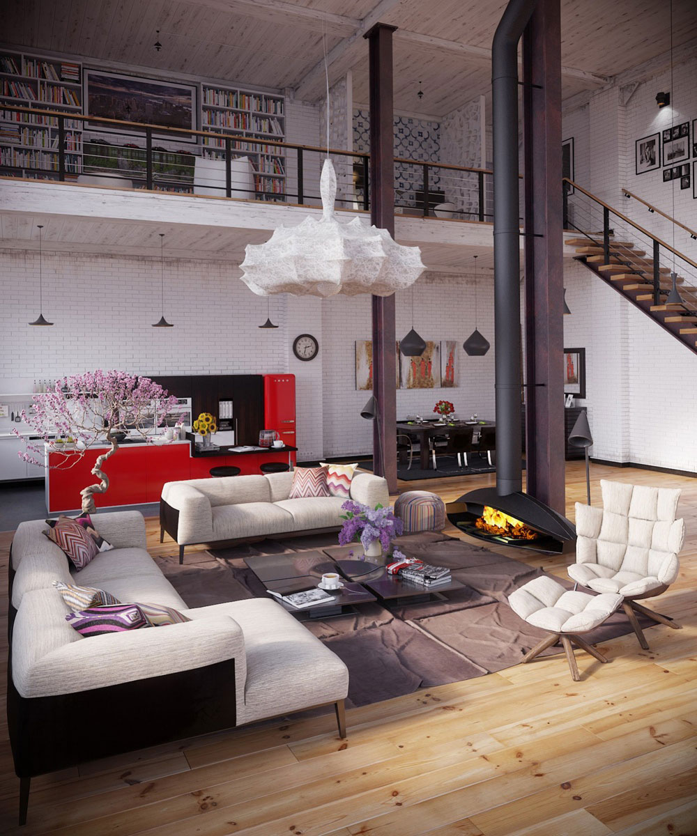 Modern Industrial Interior Design with colorful accents