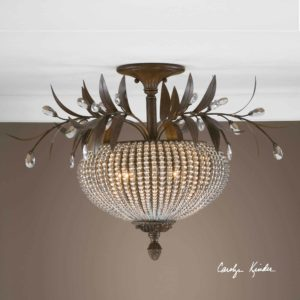 Cristal De Lisbon Crystal Semi Flush Light by Uttermost2