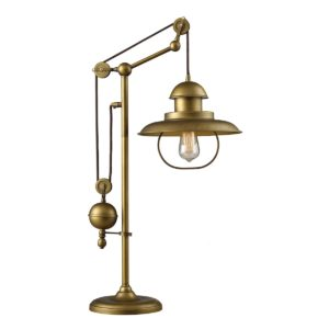 Farmhouse Adjustable Table Lamp in Antique Brass