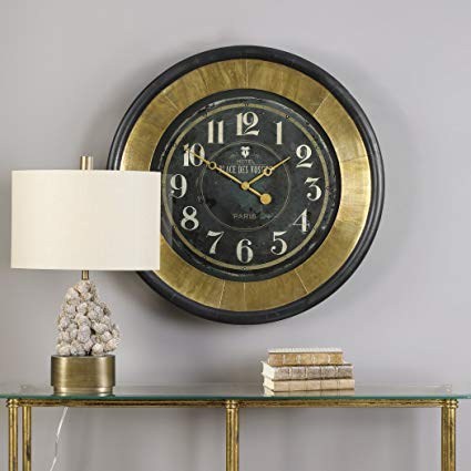 Lannaster Black Gold Wall Clock 1