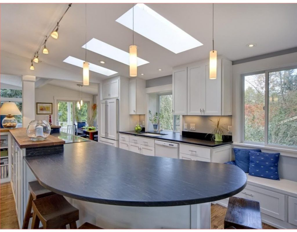 kitchen with beautiful track lighting