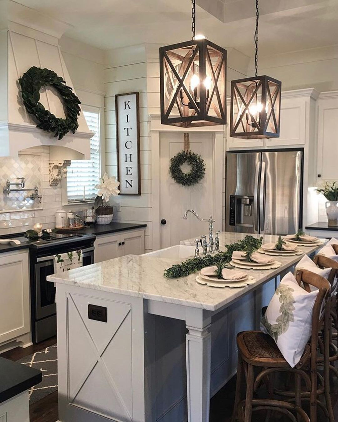 Kitchen Island with Pendant Lights 17