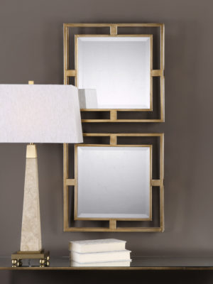 Allick Gold Square Mirrors S/2_U-09234