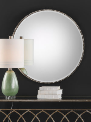 Stefania Beaded Round Mirror_U-09252