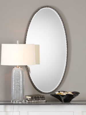 Kateel Twisted Iron Oval Mirror_U-09315