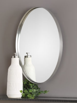 Pursley Brushed Nickel Oval Mirror_U-09354