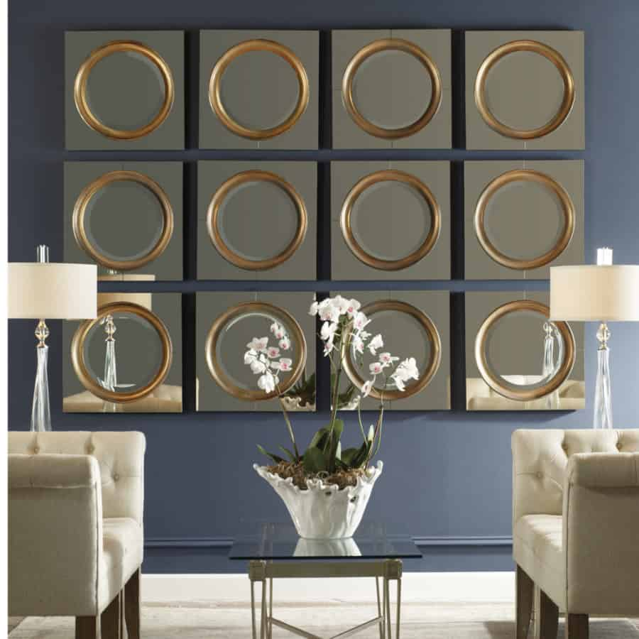 Unusual uttermost mirrors for living room with tufted sofa and glass uttermost lamp suitable with large uttermost1c