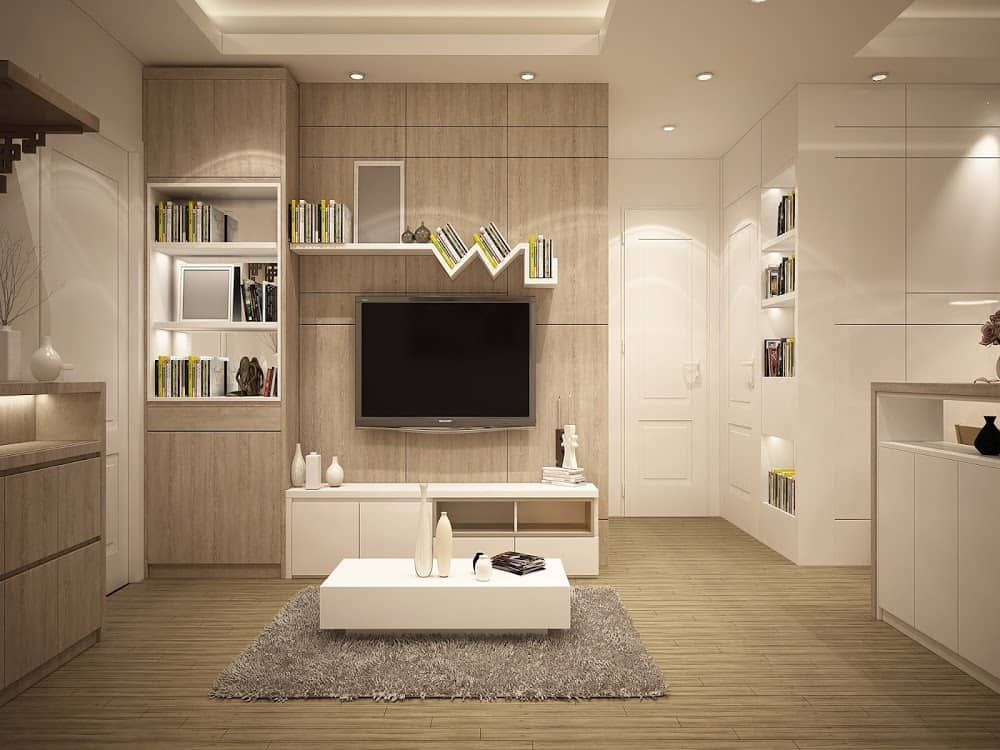 A living room with neutral tones