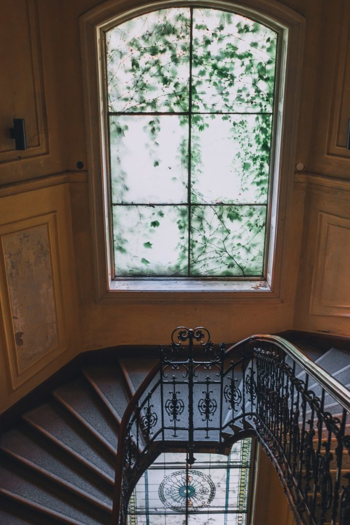 A staircase and a window