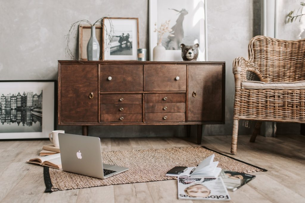 Wooden furniture in a modern home