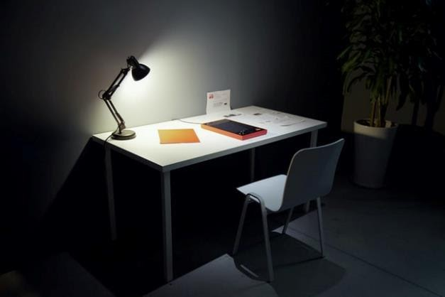 Office desk with a lamp