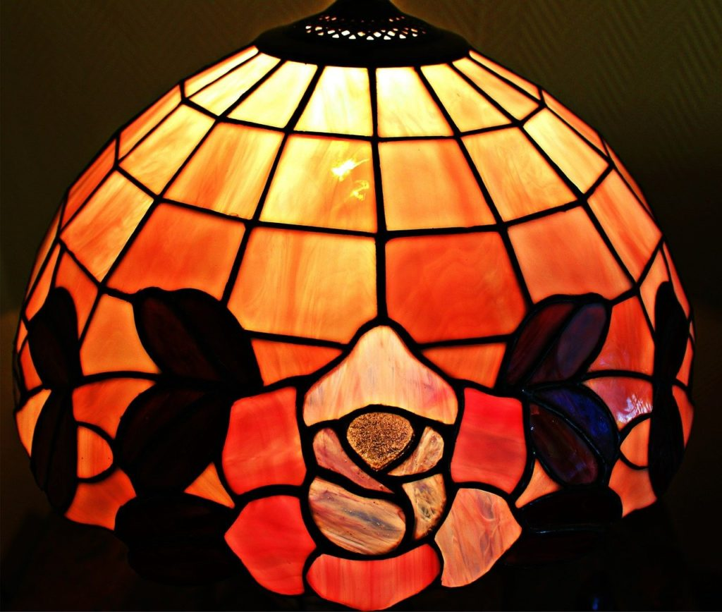 A brightly colored Tiffany lamp