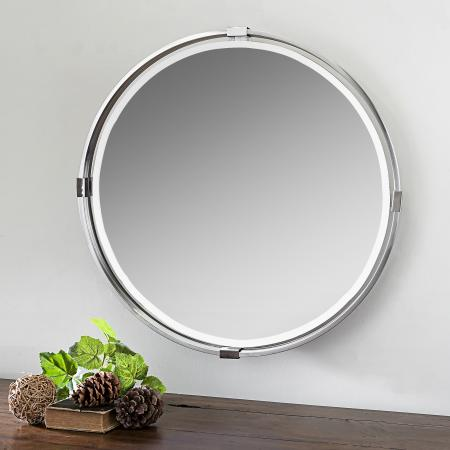 Tazlina Brushed Nickel Round Mirror_U-09109