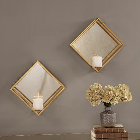 Zulia Gold Candle Sconces