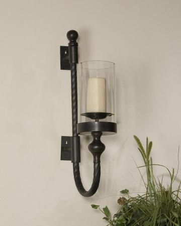 Garvin Twist Metal Sconce With Candle_U-19476